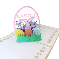 Easter Pop Up Card - Bunny in Basket - Q&T 3D Cards and Envelopes