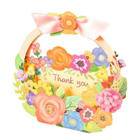Flower Basket Thank You Pop Up Card - Q&T 3D Cards and Envelopes