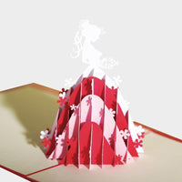 Princess in Red Dress Pop Up Card - Q&T 3D Cards and Envelopes