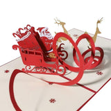 Santa in Sleigh Christmas Pop Up Card - Q&T 3D Cards and Envelopes