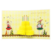 Yellow Happy Birthday Pop Up Card - Q&T 3D Cards and Envelopes