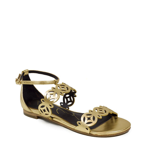 Lola Cruz Gold Metallic Sandal