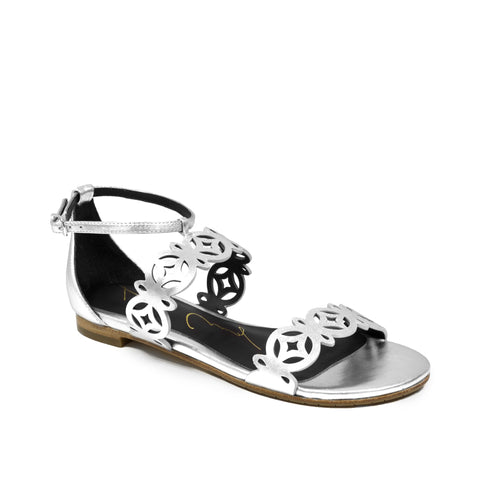 Lola Cruz Metallic Leather Sandal
