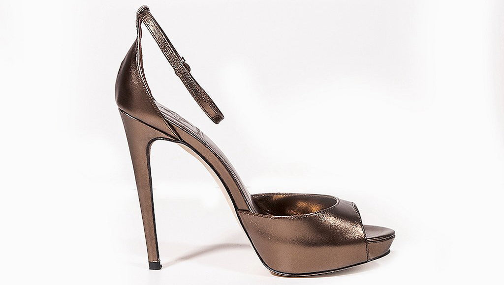 VANESSA Bronze Metallic Leather Sandals