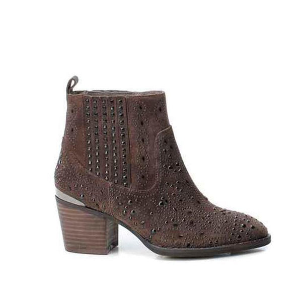 Taupe Suede Studded Ankle Boot