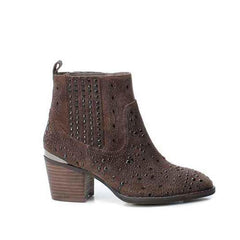 Taupe Suede Studded Ankle Boot - Heels Boutique
