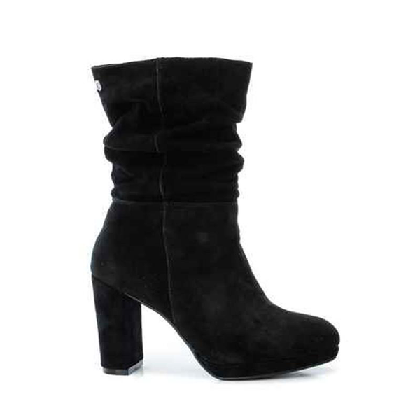 Black Suede Heeled Slouch Ankle Boot.