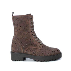 Taupe Suede Studded Military Boot