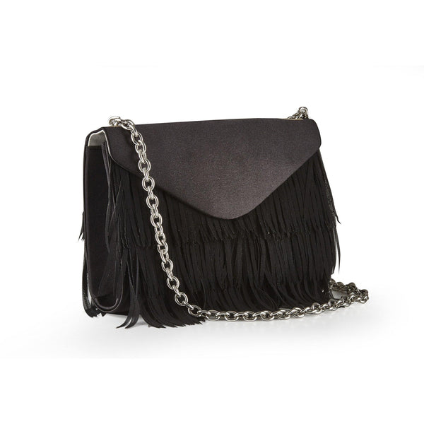 BOURNE Black Satin Fringed Shoulder Bag