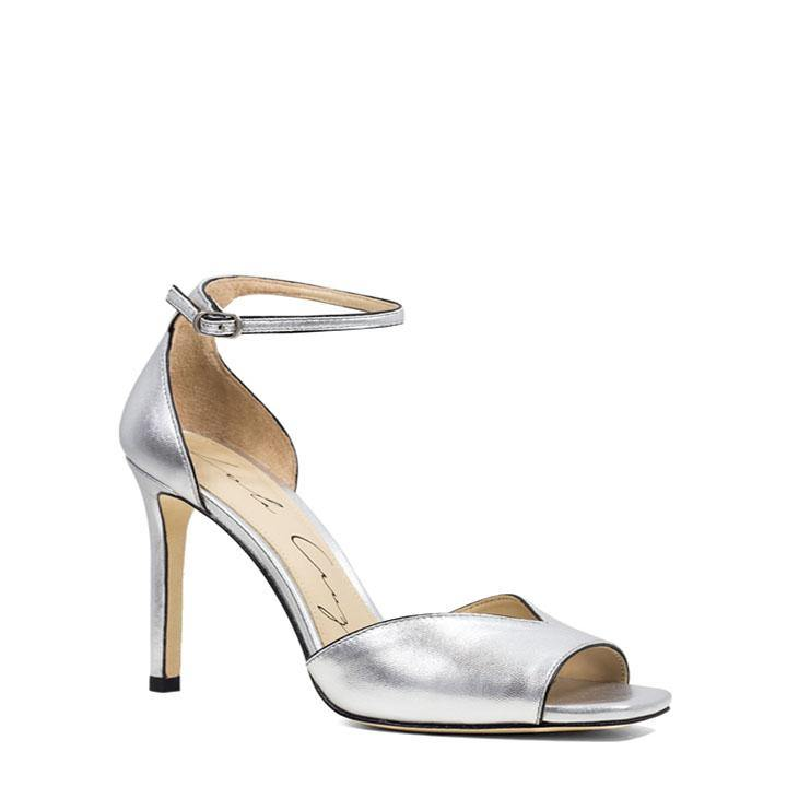 159b910affad Metallic Silver Leather Open-Toe Heeled Sandal - Heels Boutique ...