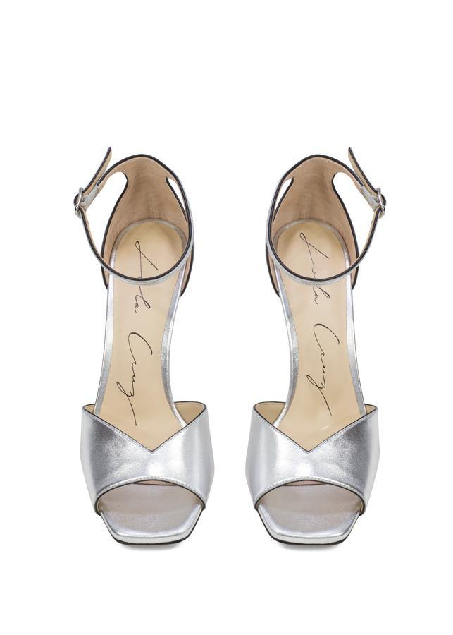 d31c3fe271f3 Metallic Silver Leather Open-Toe Heeled Sandal