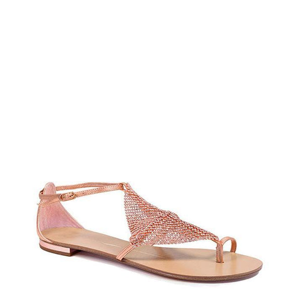Rose Gold Leather Diamante Flat Sandal