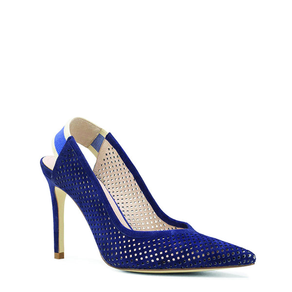 Navy Suede Perforated Sling-Back Heels