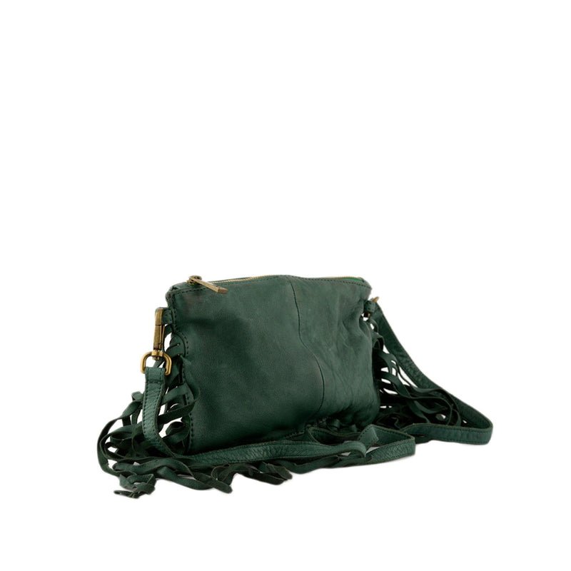 Emerald Green Leather Fringe Crossbody Bag / Clutch - Vanessa London