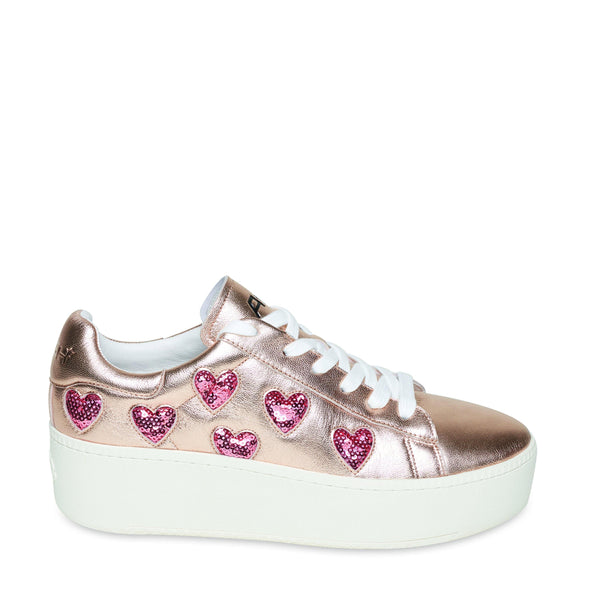 CUTE Rose Gold Heart Flatform Sneaker