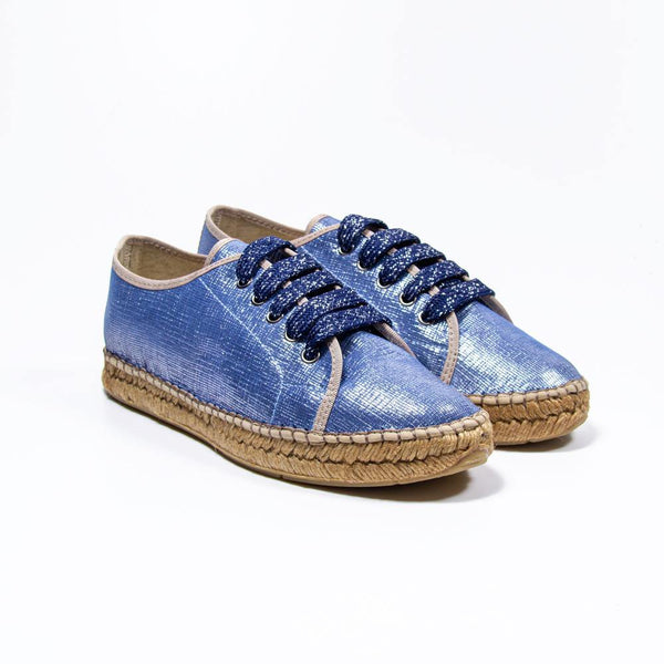 Carmen Blue Metallic Canvas Espadrille Sneaker