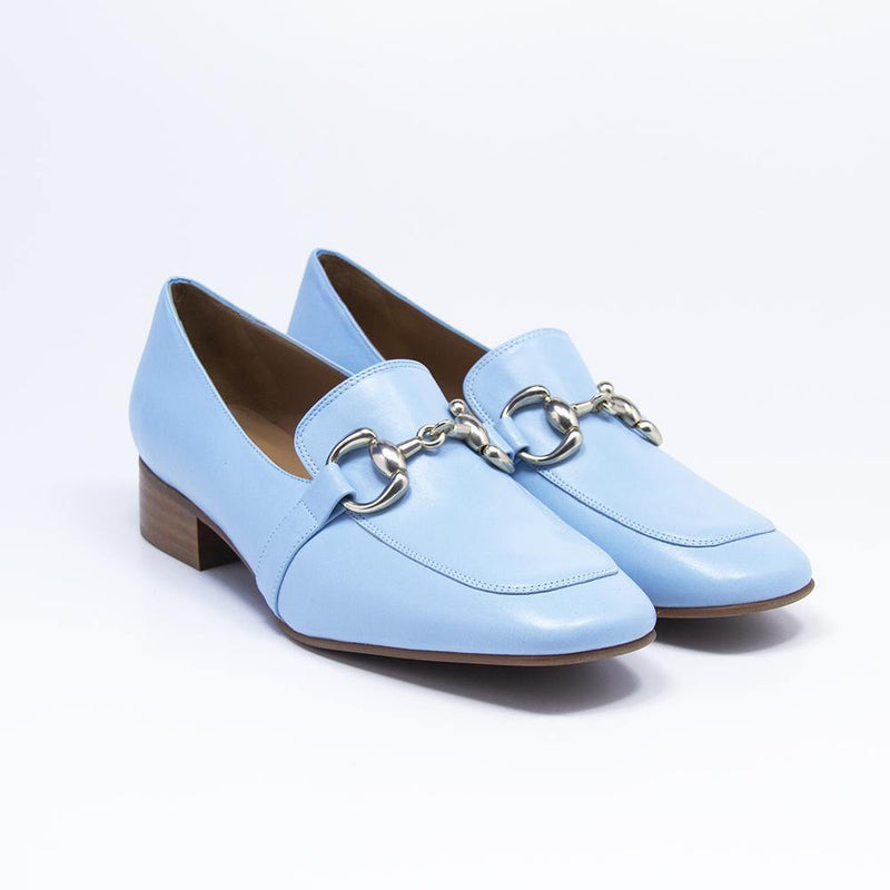 SIENNA Sky Blue Leather Horse-Bit Loafer