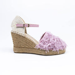 Jennifer Pale Pink Faux Ostrich Feather Espadrille Wedge