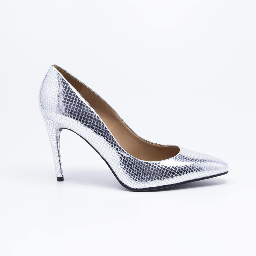 RAQUEL Silver Snake Effect Leather Stiletto Court Shoe - Vanessa London