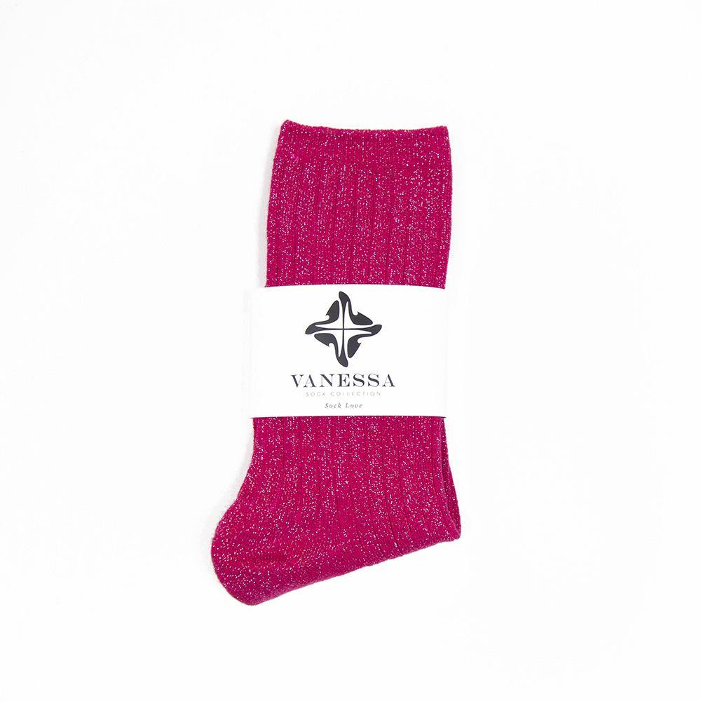 Ribbed Pink Glitter Lurex Thick Socks - Vanessa London