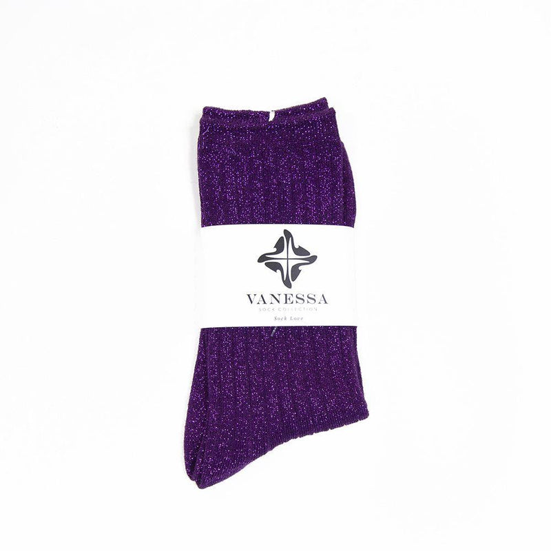 Ribbed  Purple Glitter Lurex Thick Socks - Vanessa London