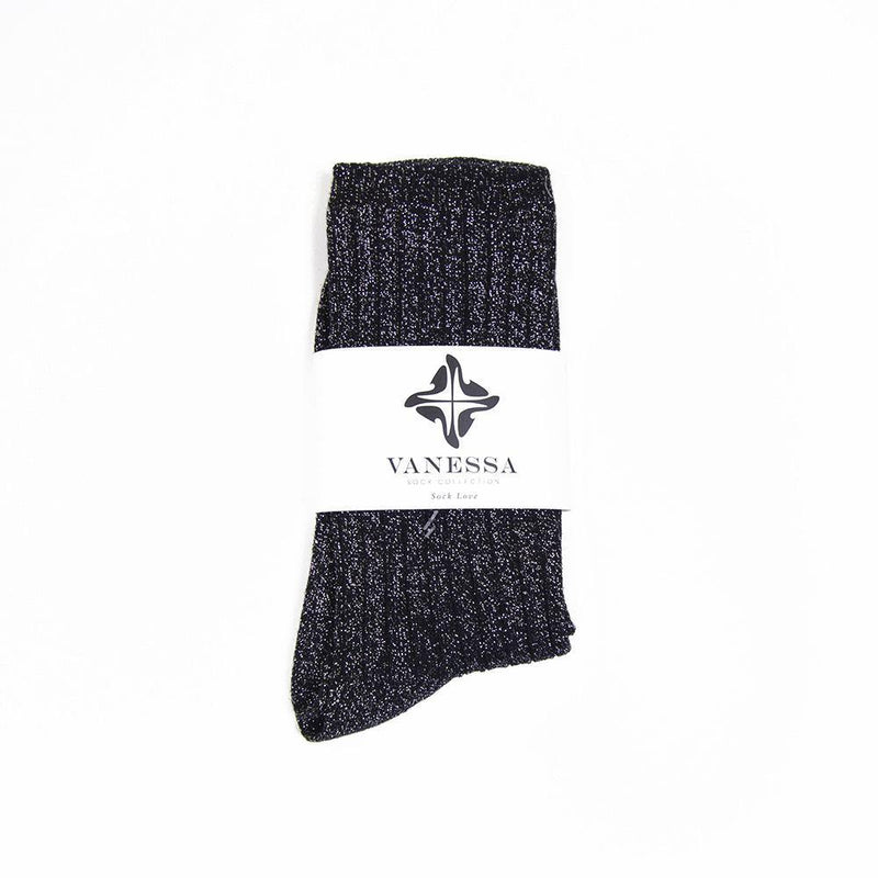 Black Silver Glitter Ribbed Lurex Socks