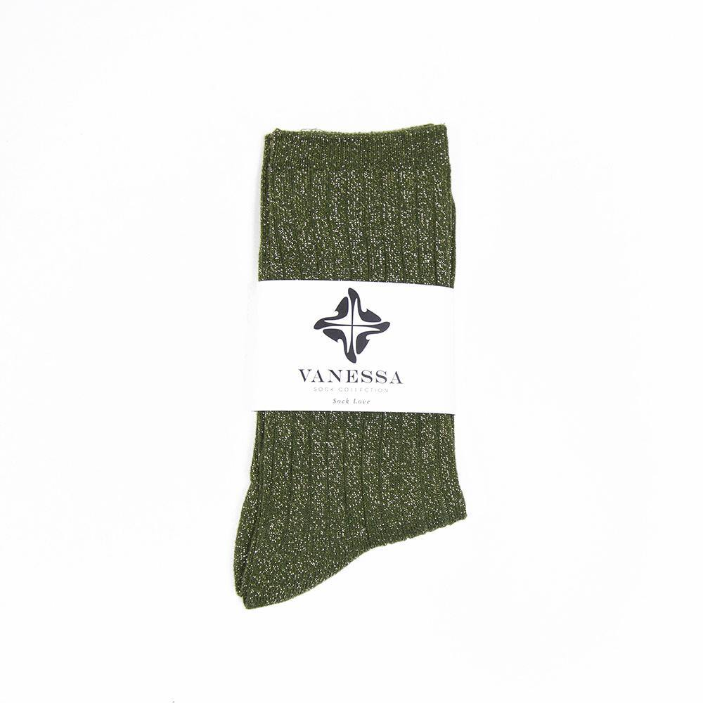 Ribbed Green Glitter Lurex Thick Socks - Vanessa London