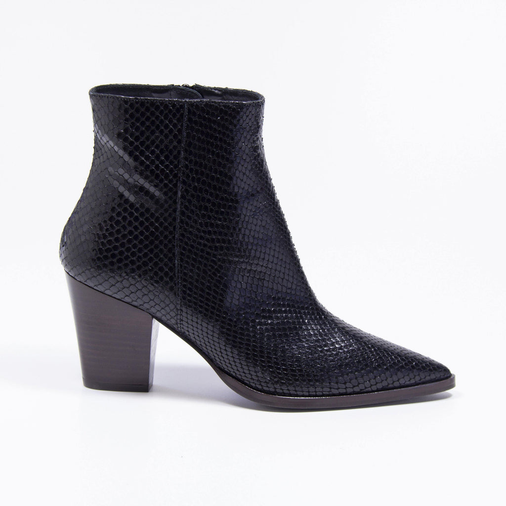 CAMERON Black Snake Leather Western Boot - Vanessa London