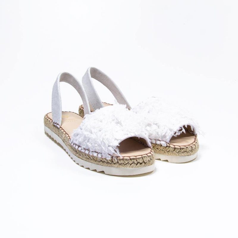 ANGELINA White Faux Ostrich Feather Espadrille Sandal - Vanessa London