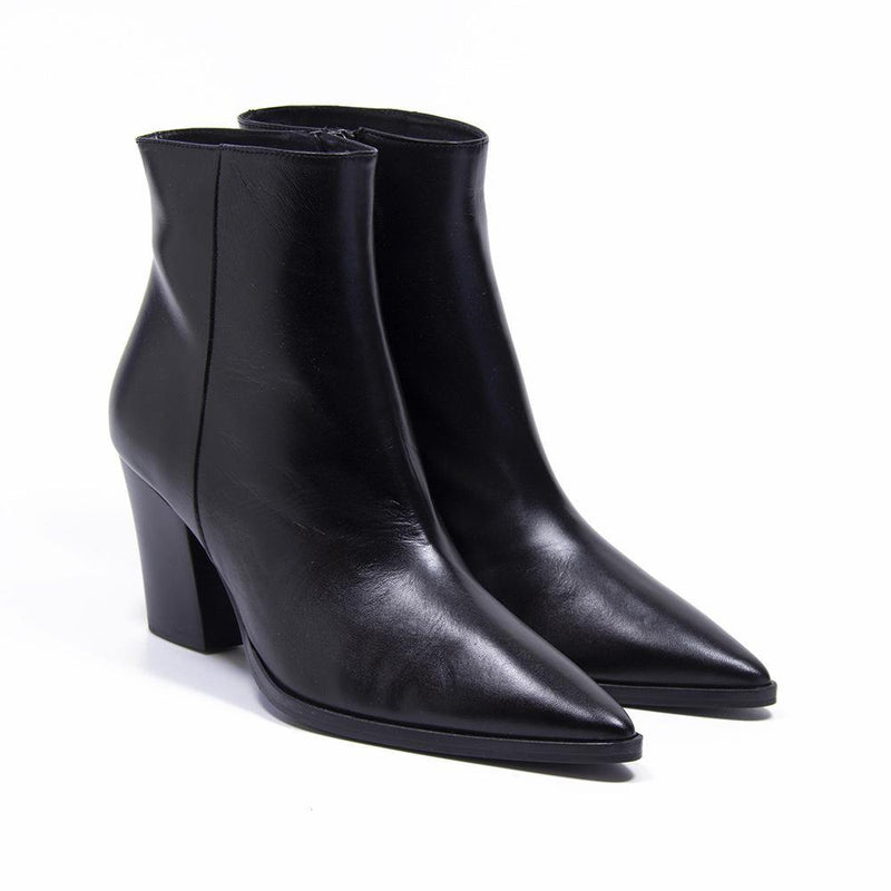 CAMERON Black Plain Leather Western Ankle Boot