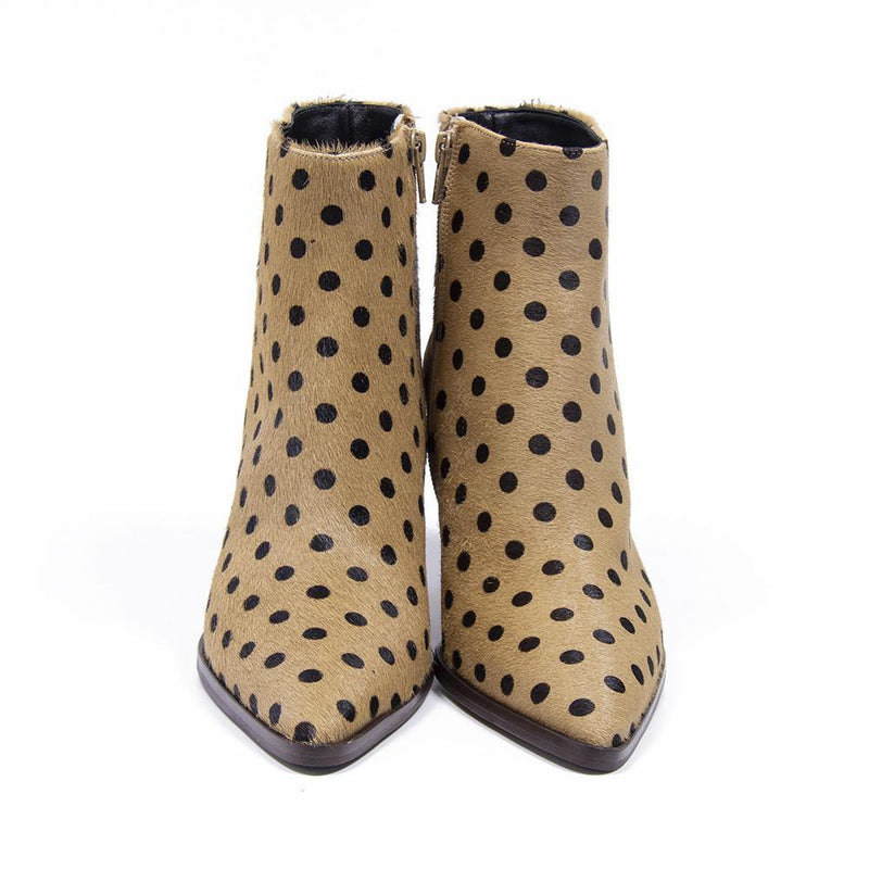 CAMERON Beige Polka Dot Pony Hair Western Boot by Vanessa LondonCAMERON Beige Polka Dot Pony Hair Western Boot
