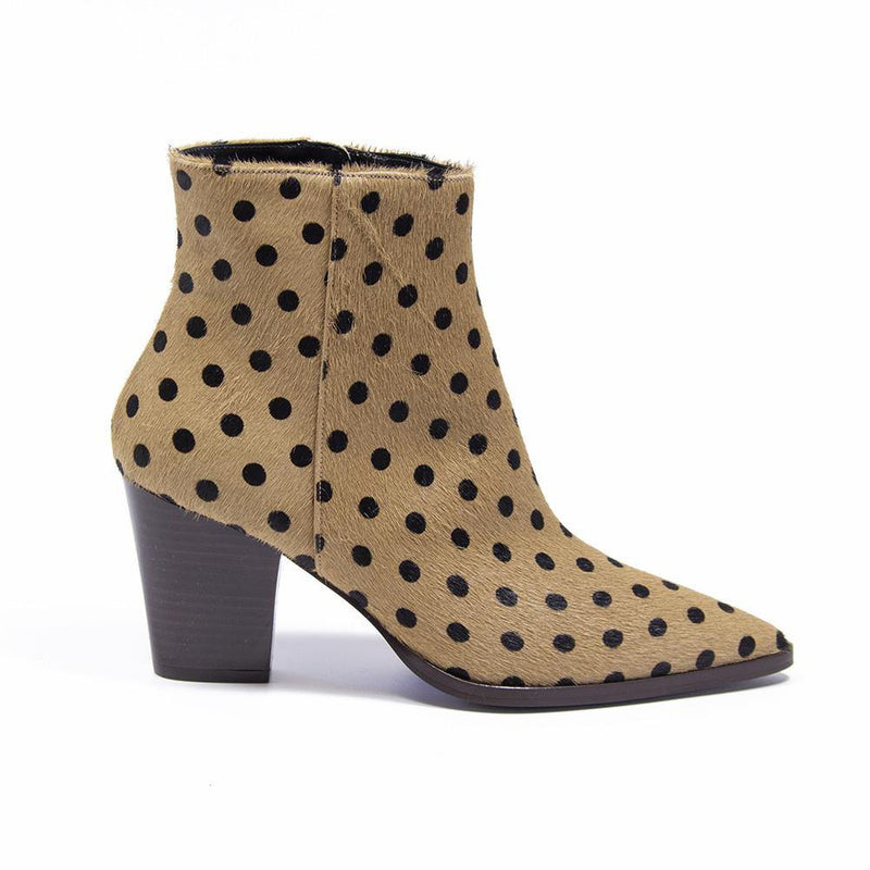 Vanessa London CAMERON Beige Polka Dot Pony Hair Western Boot