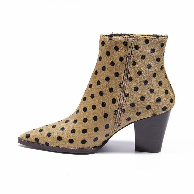 CAMERON Beige Polka Dot Pony Hair Western Boot | Vanessa London Shoes