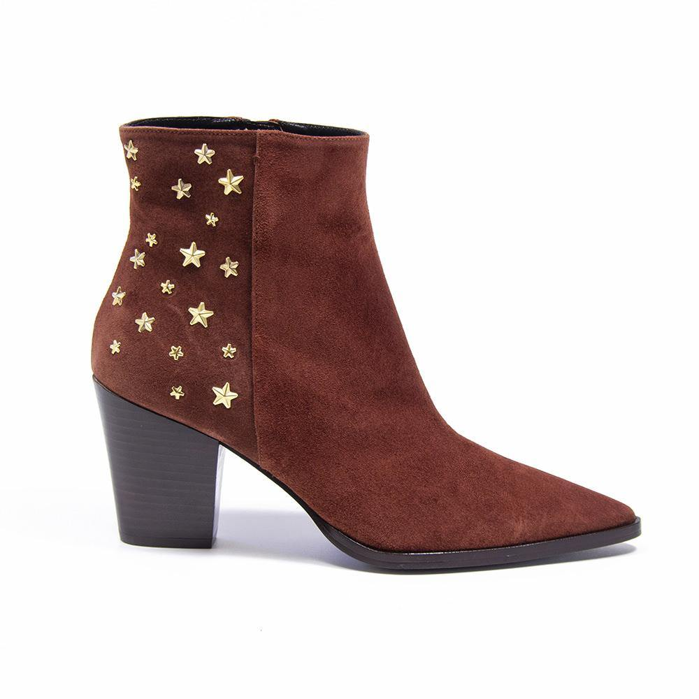 CAMERON Rust Suede Star Stud Western Boot