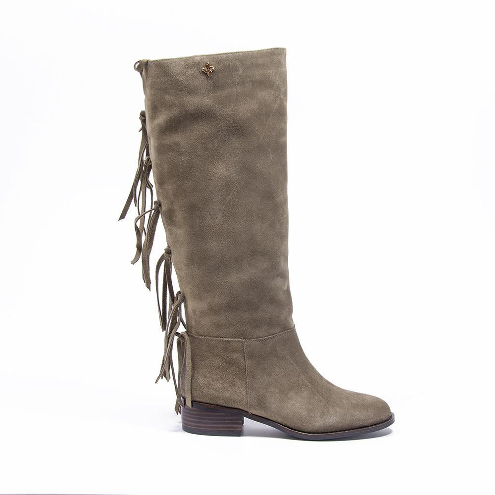 ROMEE Taupe Suede Fringe Knee High Boot - Vanessa London