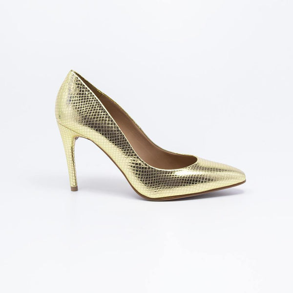 Raquel Stiletto Leather Court Shoe Gold