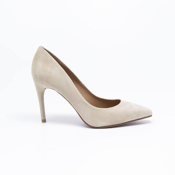 Raquel Stiletto Suede Court Shoe Beige