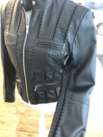 Black Leather Panelled Jacket - Vanessa London