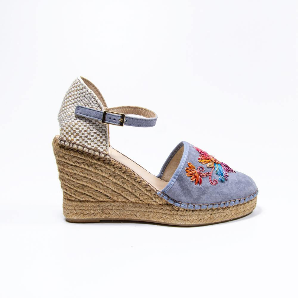 Jennifer baby blue suede embroidered espadrille wedge - Heels Boutique