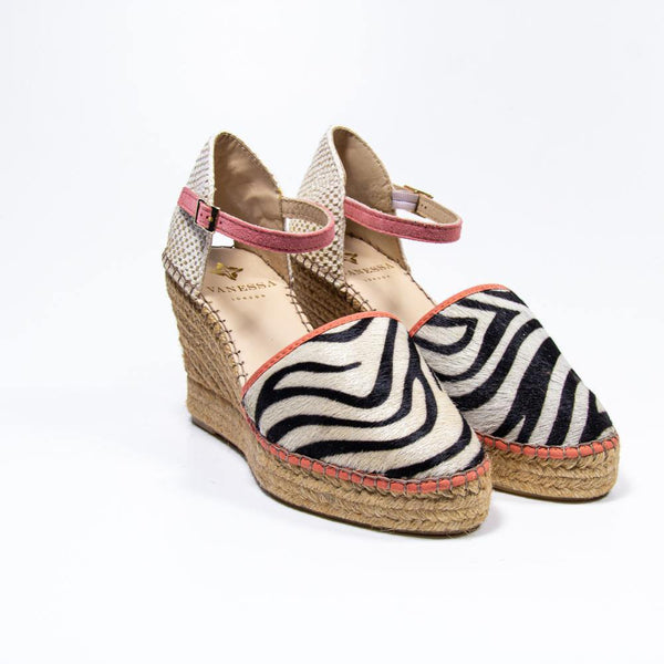 Jennifer Coral Zebra Pony Hair Espadrille Wedge