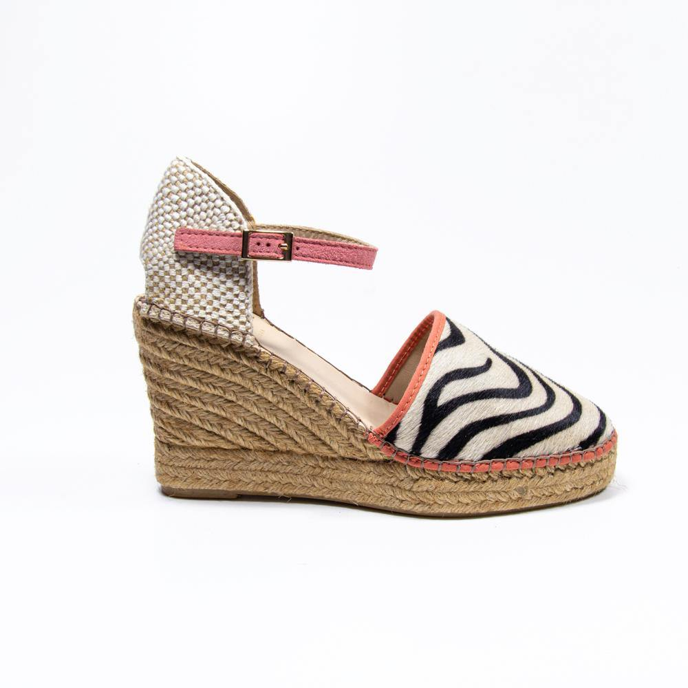 Jennifer coral zebra pony hair espadrille wedge - Heels Boutique