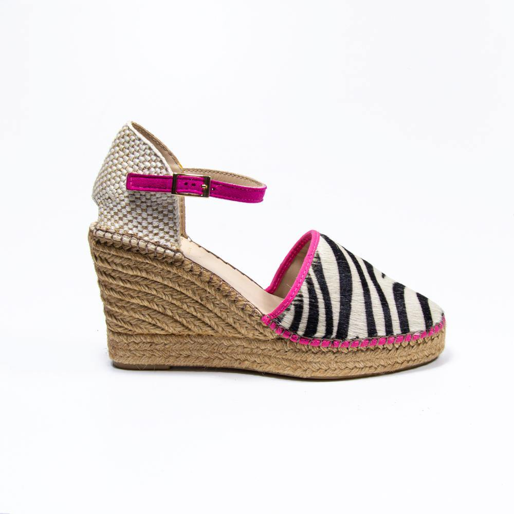Jennifer fuschia zebra pony hair espadrille wedge - Heels Boutique