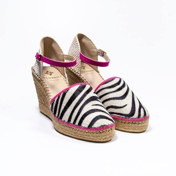 Jennifer Fuchsia Zebra Pony Hair Espadrille Wedge