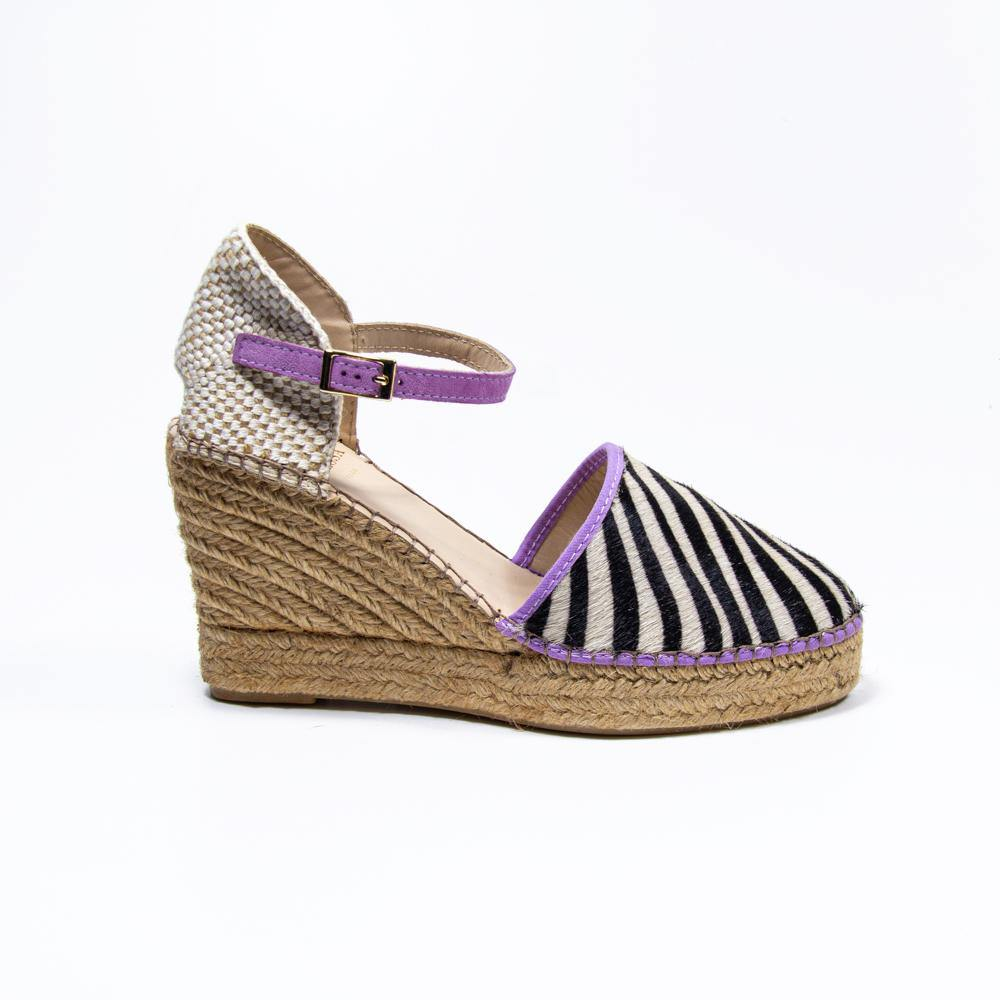 Jennifer lilac zebra pony hair espadrille wedge - Heels Boutique