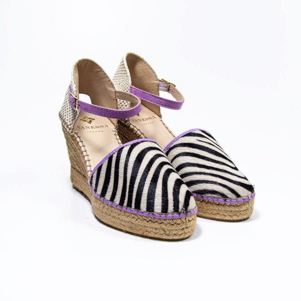 Jennifer Lilac Zebra Pony Hair Espadrille Wedge