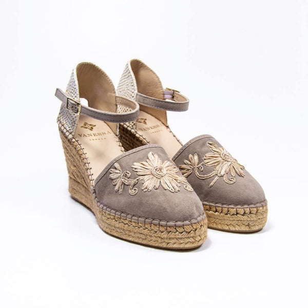 Jennifer Taupe Suede Embroidered Espadrille Wedge