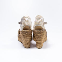 Jennifer taupe suede embroidered espadrille wedge - Heels Boutique