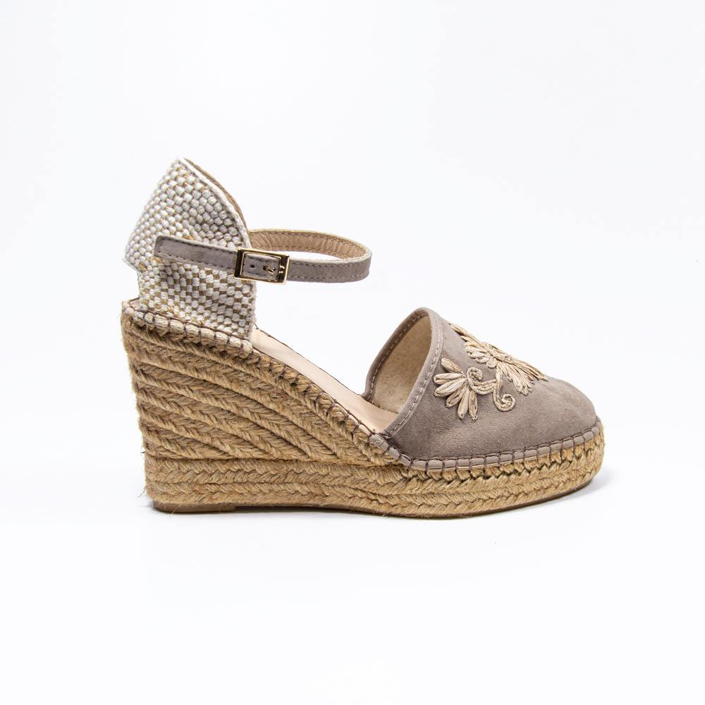 JENNIFER Taupe Suede Embroidered Espadrille Wedge - Vanessa London