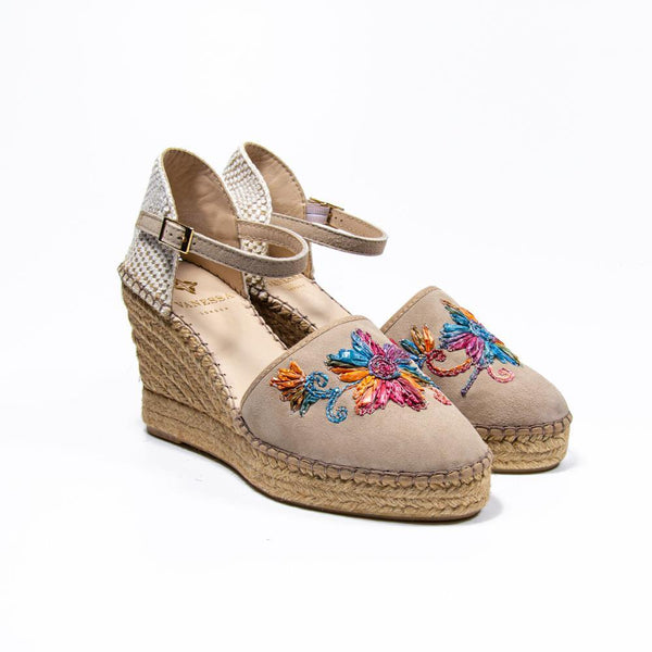 Jennifer Taupe Suede Multi-coloured Embroidered Espadrille Wedge
