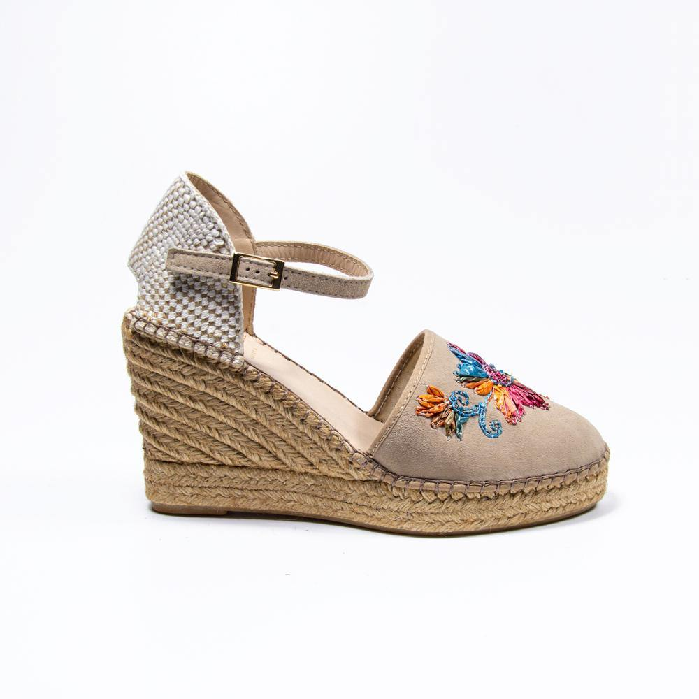 JENNIFER Taupe Suede Multicolour Embroidered Espadrille Wedge - Vanessa London